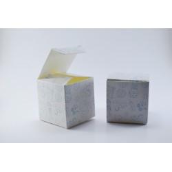 Scatolina Portaconfetti a forma di Cubo per Nascita (Celeste)