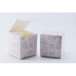 Scatolina Portaconfetti a forma di Cubo Tema Principesse (Rosa)