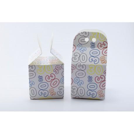 Scatolina Portaconfetti a forma di Cubo con Numero 30