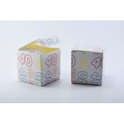 Scatolina Portaconfetti a forma di Cubo con Numero 40