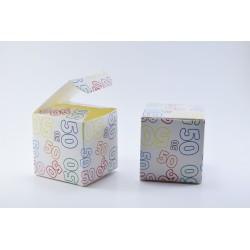Scatolina Portaconfetti a forma di Cubo con Numero 50