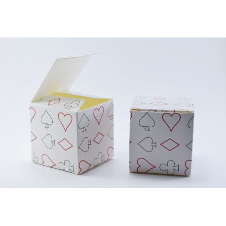 Scatolina Portaconfetti a forma di Cubo con Semi Poker